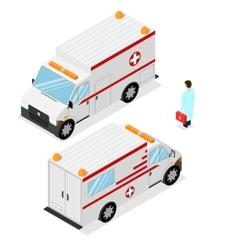 Ambulance emergency medical car isometric view vector
