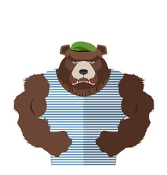 Angry bear in striped vest russian bear defender vector