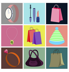 assembly flat icons accessories vector image