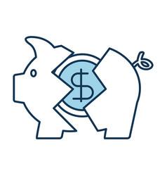 banking piggy broken coin dollar crisis vector image