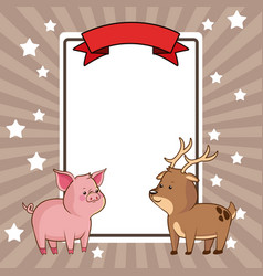 beauty pig and deer card decoration vector image vector image