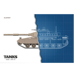 Blueprint of realistic tank vector