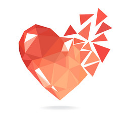 Broken low poly heart isolated on white background vector