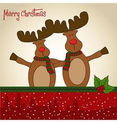 Christmas card with reindeer vector