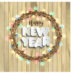 Christmas lights on wooden background new year vector