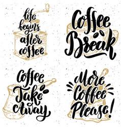 Coffee take away more coffee please hand drawn vector