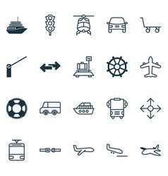 Delivery icons set collection of stoplight cargo vector