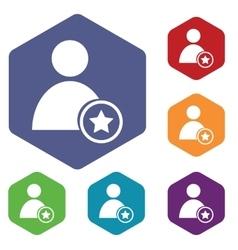 Favorite user icon hexagon set vector