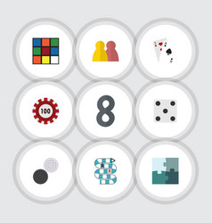 Flat icon entertainment set of chequer poker ace vector