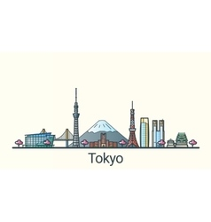 Flat line Tokyo banner vector image