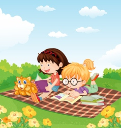 Girls reading book vector