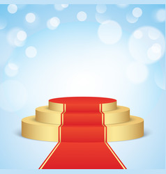 Golden stage with red carpet vector