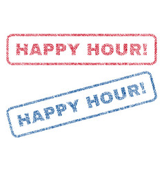 Happy hour exclamation textile stamps vector