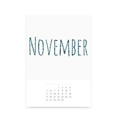 November 2017 Calendar Page vector image
