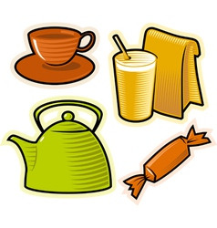 Objects drinks and sweets vector