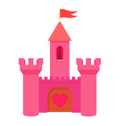 Pink princess castle icon cartoon style vector