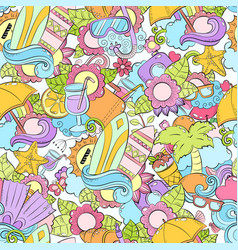 Seamless abstract doodle background summer vector