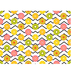 Seamless pattern with oranges kiwi and lemon vector