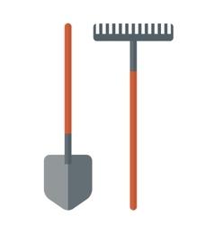 Shovel and rake vector image