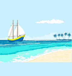 summer sea view with sailboat and palms vector image