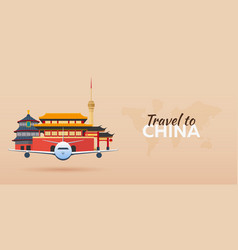 travel to china airplane with attractions travel vector image vector image
