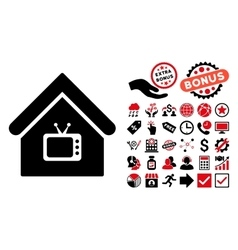 Tv Office Flat Icon with Bonus vector image