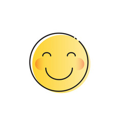 yellow smiling cartoon face shy positive people vector image vector image
