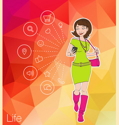 Young men and women sitting on mobile app icons vector