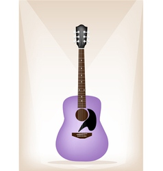 Beautiful purple guitar on brown stage background vector