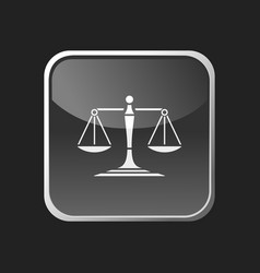 scales of justice icon on a square button vector image
