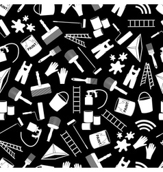 Paint icons black and white seamless pattern eps10 vector