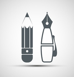 Icon pencil and pen vector