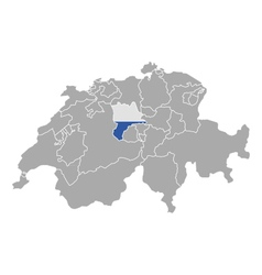 Map of switzerland with flag of luzern vector