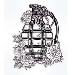 Hand drawn design of grenade in flowers vector