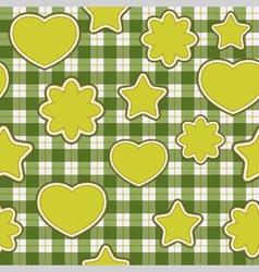 Seamless pattern with green applications on checke vector