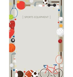 Sports Equipment Flat Icons Poster Frame vector image