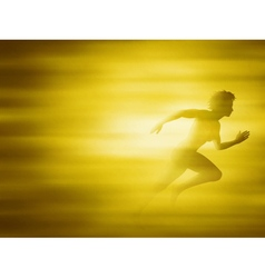 Woman running for gold vector image