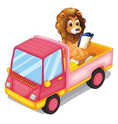 A lion reading a book at the back of a truck vector image vector image