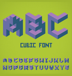 Alphabet cubic font poster vector