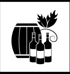 Barrel and bottles of wine icon stock vector