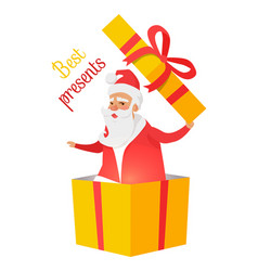 Best presents from santa claus on white background vector