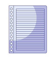 Blue shading silhouette of striped notebook sheet vector