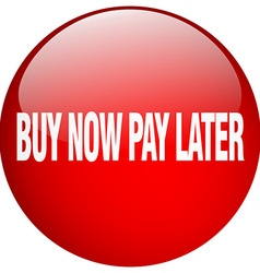 Buy now pay later red round gel isolated push vector