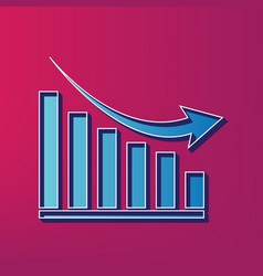 Declining graph sign blue 3d printed icon vector