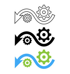 down arrow with gears vector image vector image