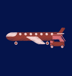 Flat icon in shading style airplane gangway vector