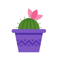 Flat style cactus in pot with pink flower vector