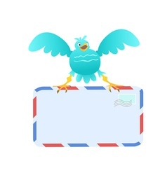 Funny Blue Bird carrying mail vector image vector image