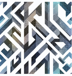 geometric seamless pattern with grunge effect vector image
