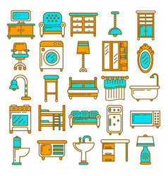 home furniture appliances and room interior vector image vector image